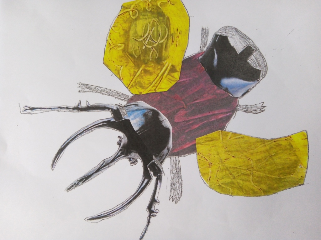 Collage and texture work as part of  Year 5's 'Beast Creator topic.